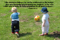 Like obedient children, do not be conformed to the desires that you formerly had in ignorance. Instead, as he who called you is holy, be holy yourselves in all your conduct --1 Peter 1.14-15