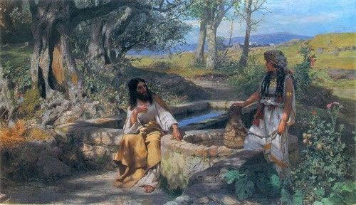 Chrystus i Samarytanka (en: Christ and Samaritan woman), oil on canvas, 106,5x184 , Gallery of Art in Lviv