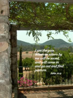 I am the gate. Whoever enters by me will be saved, and will come in and go out and find pasture. --John 10.9