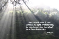 ...those who do what is true come to the light, so that it may be clearly seen that their deeds have been done in God.