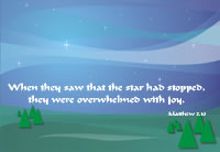 When they saw that the star had stopped, they were overwhelmed with joy