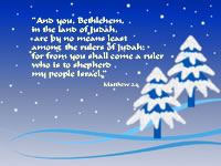 """And you, Bethlehem, in the land of Judah, are by no means least among the rulers of Judah; for from you shall come a ruler who is to shepherd my people Israel."" --Matthew 2.6"