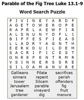 Word search puzzle parable of the fig tree