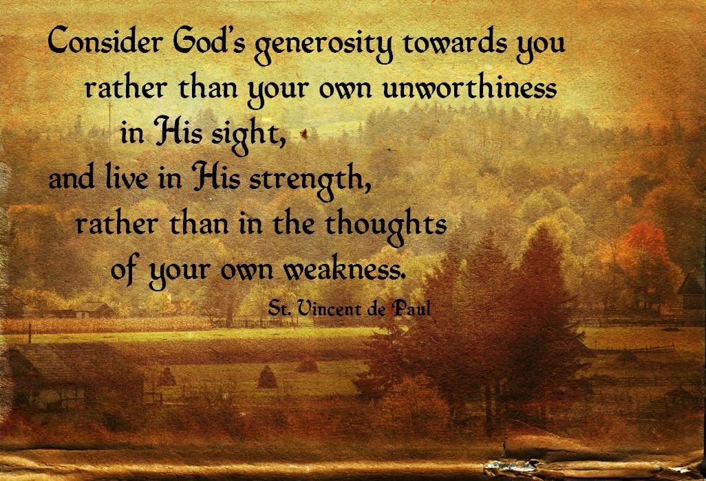 """St. Vincent de Paul Poster - """"Consider God's generosity ..."""